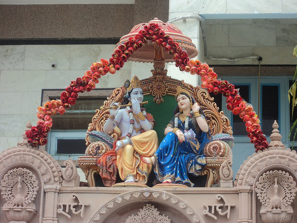 Lord Krishna and her lover Radha in Rangeeli Mahal, Mathura