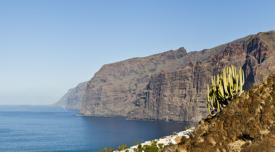 View of Los Gigantes (The Giants) from Puerto de Santiago, Tenerife, Spain