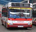 Lothian Buses bus 84 Dennis Dart SLF Plaxton Pointer 2 SK52 OKE Harlequin livery.jpg