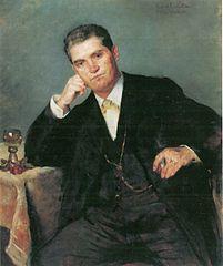 Porträt des Vaters Franz Heinrich Corinth mit Weinglas