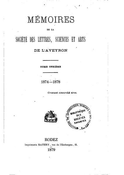 File:Mémoires de la Société des lettres, sciences et arts de l'Aveyron, tome 11.djvu