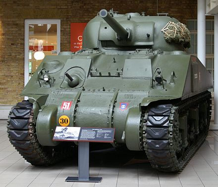 This M4A4 has extra armor plates in front of crew hatches M4 Sherman tank at the Imperial War Museum.jpg