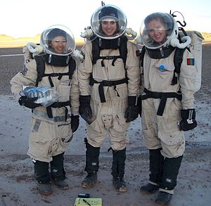 Mars Desert Research Station - Crew 73 members in Space Suit Simulators
