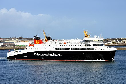 A Calmac ferry departing Stornoway MV Loch Seaforth Departing Stornoway For Ullapool, 24 February 2015.jpg
