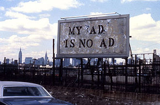 Billboard hacking - 1980 billboard hijacking by John Fekner