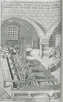 Macchina a pistoni per il pestaggio e preparazione degli stracci per la  realizzazione della carta in una rappresentazione del XVII secolo d1baf98a53ae