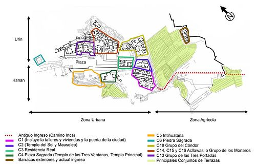 Principals sectors de Machu Picchu, en acòrd amb la nomenclatura utilizada pels arqueològs del INC-Cusco