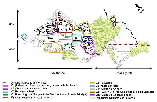 Principais setores de Machu Picchu, de acordo com a nomenclatura utilizada pelos arqueólogos do INC-Cusco.