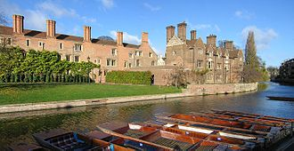 Magdalene Street - View of Magdalene College, looking across the River Cam just north of Magdalene Street at Magdalene Bridge.
