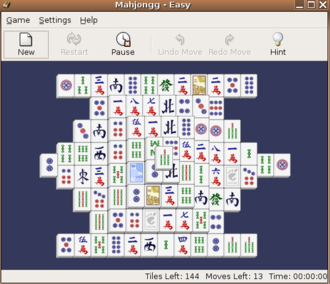 Mahjong solitaire - The Mahjongg game bundled with GNOME.