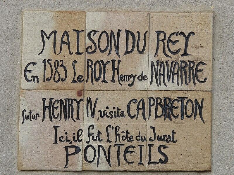 "Plaque on the ""Maison du Rey"" (=House of the king), Boulevard Jean Lartigau, in Capbreton (Landes, France), where the king Henry IV of France lived in 1583"