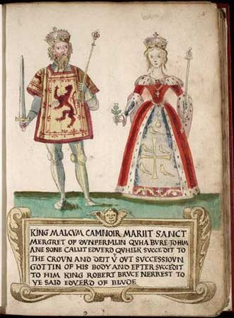 Malcolm III of Scotland - Malcolm and Margaret as depicted in a 16th-century armorial. Anachronistically, Malcolm's surcoat is embroidered with the royal arms of Scotland, which probably did not come into use until the time of William the Lion. Margaret's kirtle displays the supposed arms of her great-uncle Edward the Confessor, which were in fact invented in the 13th century, though they were based on a design which appeared on coins from his reign