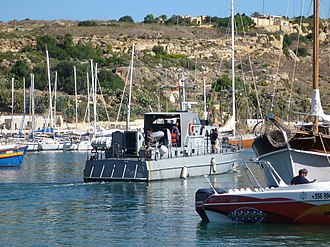 Maritime Squadron of the Armed Forces of Malta - Patrol boat P32 at Mġarr, Gozo.