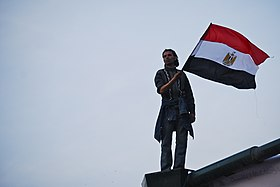 Man holding Egyptian flag during the 2011 Egyptian Revolution (3).jpg