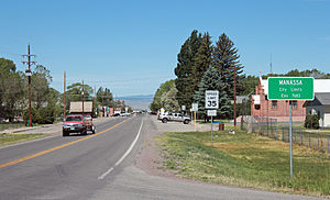 Manassa, Colorado - Main Street in Manassa looking west