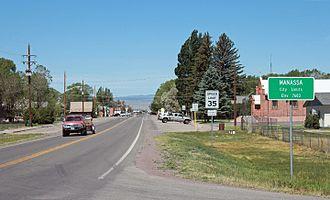 Manassa, Colorado - Main Street in Manassa looking west