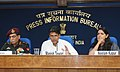 Manish Tewari briefing the media on rescue and relief operations in Uttarakhand, in New Delhi on June 22, 2013. The Principal Director General (M&C), Press Information Bureau, Smt. Neelam Kapur is also seen.jpg