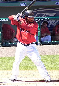 Boston Red Sox outfielder Manny Ramírez battin...