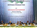 """Manohar Parrikar at the inauguration of the """"Make in India"""" portal of the Department of Defence Production, in New Delhi. The Defence Secretary, Shri G. Mohan Kumar and the Secretary, Department of Defence Production.jpg"""