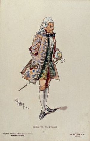 Alessandro Polonini - Polonini's costume for act 2 of Manon Lescaut, designed by Adolf Hohenstein for the world premiere