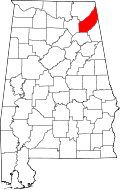 Map of Alabama highlighting DeKalb County