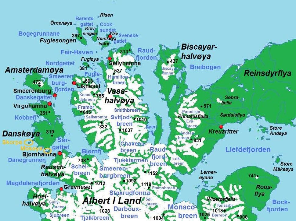 Map of Albert I Land north