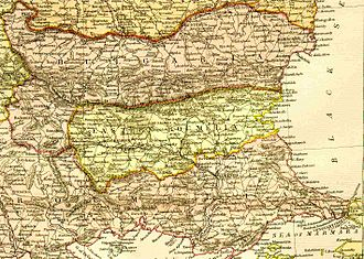 Bulgarian unification - A map of the Principality of Bulgaria and Eastern Rumelia before the Unification.