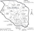 Map of Caldwell County North Carolina With Municipal and Township Labels.PNG