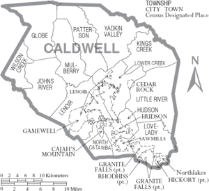 Caldwell County, North Carolina - Map of Caldwell County, North Carolina With Municipal and Township Labels