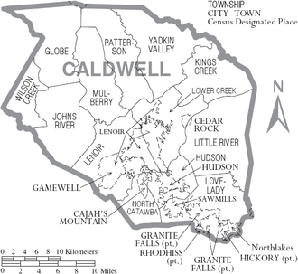 Caldwell County, North Carolina - Map of Caldwell County, North Carolina With Municipal and Township Labels