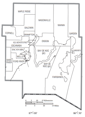 Delta County, Michigan - Map of Delta County with Municipal and Township labels