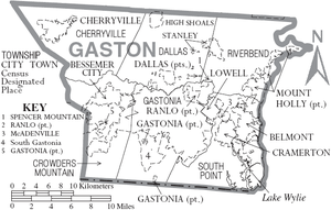 Map of Gaston County, North Carolina With Municipal and Township Labels