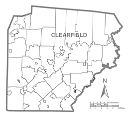 Map of Houtzdale, Clearfield County, Pennsylvania Highlighted.png