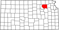 Map of Kansas highlighting Pottawatomie County