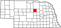 Map of Nebraska highlighting Garfield County