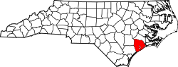 map of North Carolina highlighting Onslow County