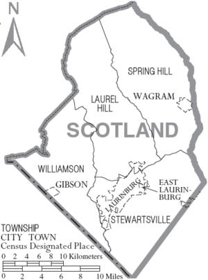 Scotland County, North Carolina - Map of Scotland County, North Carolina With Municipal and Township Labels