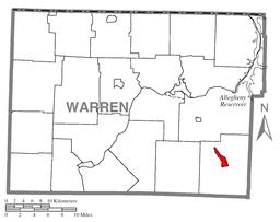 Location of Sheffield in Warren County