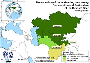 Bukhara Deer Memorandum of Understanding - Map of Signatories to the Bukhara Deer MoU, as of August 2012