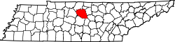 map of Tennessee highlighting Wilson County