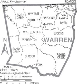 Warren County, North Carolina - Map of Warren County showing municipalities and townships