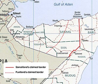 Puntland–Somaliland dispute - Claimed borders of Somaliland and Puntland. The area between the red and yellow lines is disputed.
