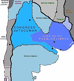 United Provinces in 1816, during both the Independence War and the Civil War. In lighter blue, the territories not under Independentist control. In darker shades, the Supreme Directorship loyalist Provinces, and the Federal League Provinces.
