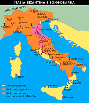 Duchy of Perugia - Map of the Exarchate and the Lombard territories around the mid-7th century.
