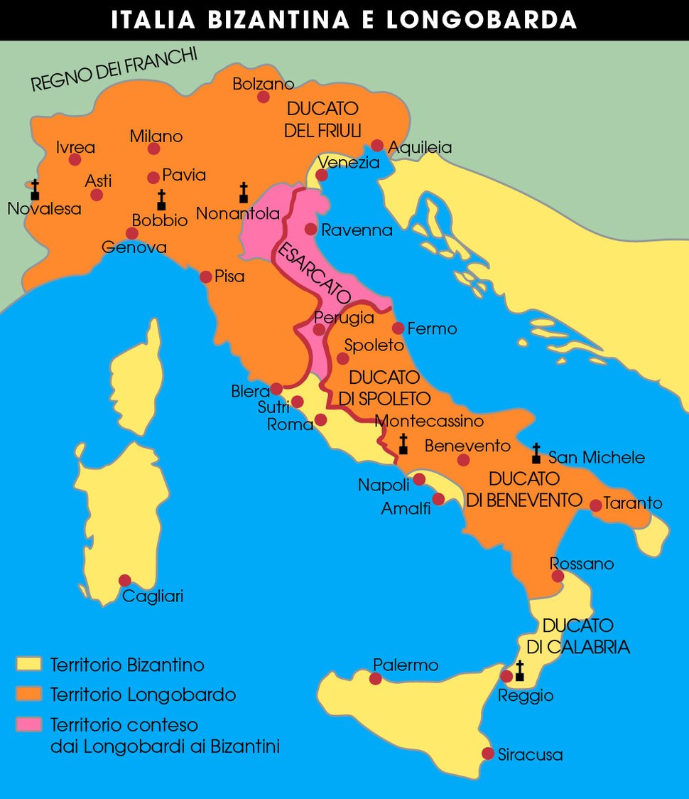 Mapa da Italia bizantina e longobarda