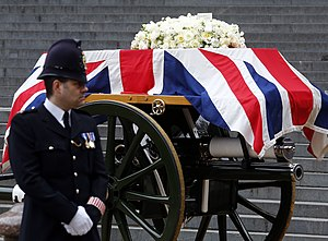 Death and funeral of Margaret Thatcher - The coffin bearing the remains of Thatcher being carried by a gun carriage