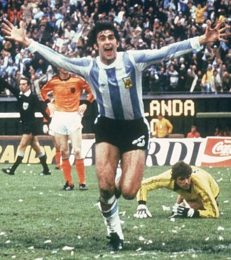 Mario Kempes - Kempes celebrating one of his 2 goals at the 1978 FIFA World Cup final match v. Netherlands in Buenos Aires