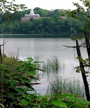 Marlborough, Massachusetts - Marlborough District Courthouse, seen from across Lake Williams