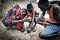Masai warriors lighting a fire.jpg