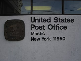 Mastic, New York - The ZIP Code on the wall of the Post Office.